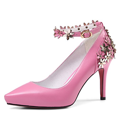 Nine Seven Cuero Puntiagudos Tacones de Aguja con Flores con Correa de Tobillo de Vestir para Mujer Rosa