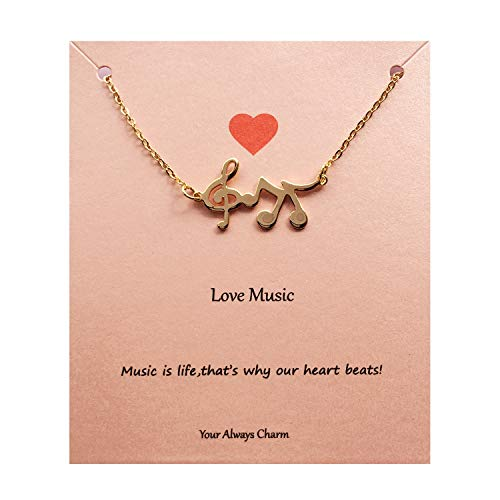 - Your Always Charm Music Lover Gifts,Treble Clef Music Note Necklace 16