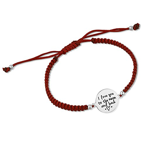 925 Sterling Silver From the Heart Message I Love You To The Moon Charm Red Drawstring Bracelet 6-9