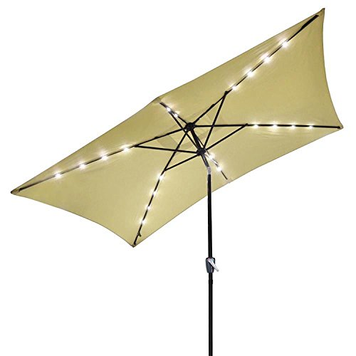 KOVAL INC. 10'x6.5′ Solar Powered Aluminum Tilt Patio Umbrella, 20 LEDs (Tan) For Sale