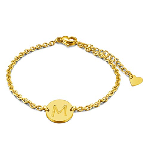 THREE KEYS JEWELRY Gold Tone Initial M Bracelet 316L Stainless Steel Disc Pendant Heart with Letter Alphabet for Womens and Girls(6.5