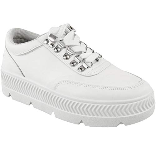 Baskets Sport exercice Cuir Faux Blanc Noir Femme Plate Creepers Plateforme Style rwIgxAqpZr