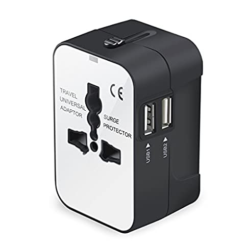 Travel Adapter, Universal All in One Worldwide Travel Adapter Power Converters Wall Charger AC Power Plug Adapter with Dual USB Charging Ports for USA Eu Uk AUS, - Outlet Converter