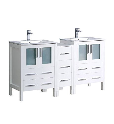 "Fresca Torino 60"" White Modern Double Sink Bathroom Cabinets"