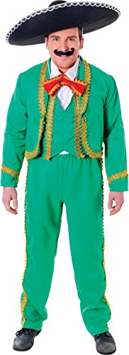 [Adults Stag Night Fancy Dress Party Mariachi Singer Mexican Man's Costume Green] (Singer Fancy Dress Costumes)