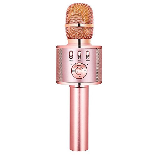 VERKB Wireless Karaoke Microphone with Speaker and FM, Easter or Birthday Gift Idea for Kids, 5in1 Magic Sound Portable Bluetooth karaoke Machine for Smartphone Home KTV, Party (Rose Gold)