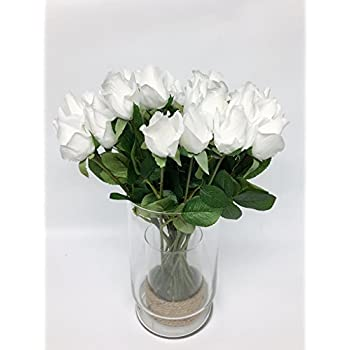 "1 Dozen (12pc) of Real Touch Best Quality Artificial Rose -16""long (White)"