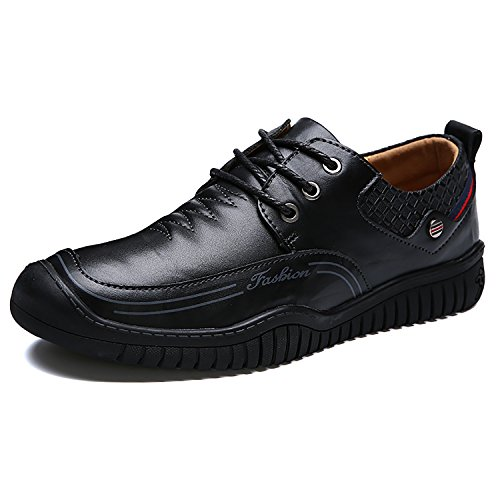 RAINSTAR Mens Casual Low Top Shoes Cowskin Oxford Dress Shoes Classic Moccasin Black-lace Up