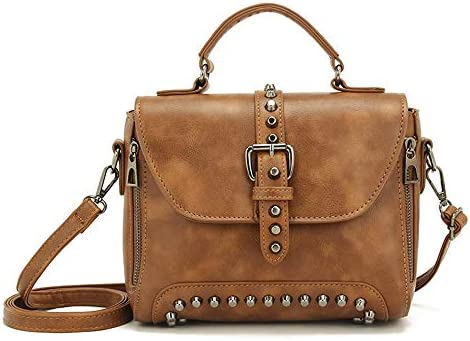 Womens Leather Studded Cross Body Messenger Shoulder Bag Handbag Vintage Satchel