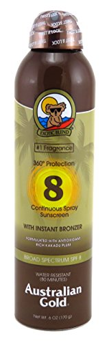 Australian Gold Continuous Spray Sunscreen with Instant Bronzer SPF 8 6 oz (Pack of 2)