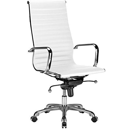 POLY & BARK EM-182-WHI Ribbed High Back Office Chair, White