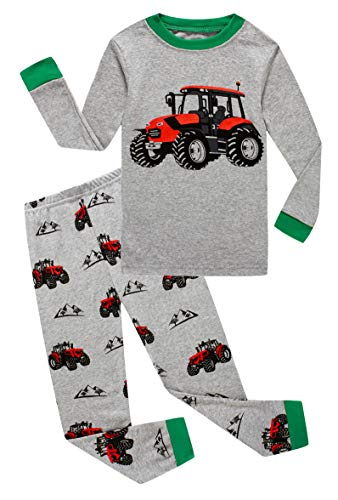 Family Feeling Tractor Little Boys Long Sleeve Pajamas Sets 100% Cotton Pyjamas Kids Pjs Size 5 Grey ()