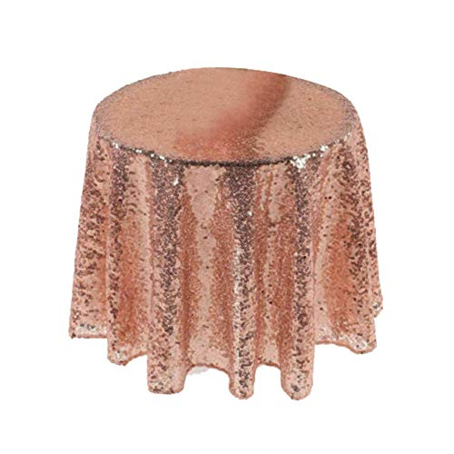 (dezirZJjx Sequin Table Cloth, Round Sequin Tablecloths Rose Gold Silver Table Cloth Cover Wedding Event Party Rose Golden)