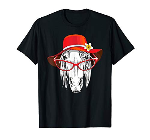 T-shirt Hat Red Ladies (Red Hat Lady Horse T Shirt Horse Lovers)