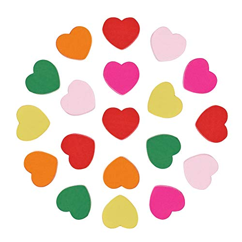 Pandahall About 50 Pcs Mixed Color Heart Wood Beads Nice for Children's Day Jewelry Making, Lead Free, Dyed, 18x18x6mm, hole: 2mm (Bead Heart)