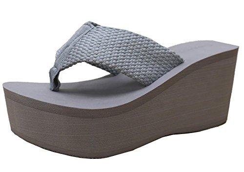 Cambridge Select Womens Comfy Platform Flip Flop Sandal Grey