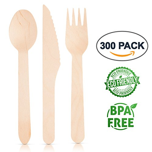 Eco Friendly Disposable Wooden Utensils: Birch Wood Home Kitchen Cutlery Flatware Set - Non Toxic Rustic Biodegradable Compostable Dinner and Party Kitchenware Forks, Spoons and Knives - 300 Count (Birchwood Finish Table)