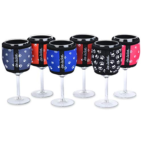 Joe Jacket - Neoprene Wine Sleeves - Paw Print Design - Never Lose Your Wine Glass Again! Super Stylish Glass Insulator and Keeps Your Wine at the Correct Temp. Buy 6Pack and get 30% Off. (6PACK)