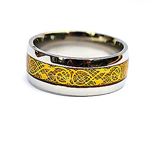 [Men's Stainless Steel Finger Rings Dragon Lines Silver Gold 0.8cm Size 8] (Johnny Depp Wolf Costume)