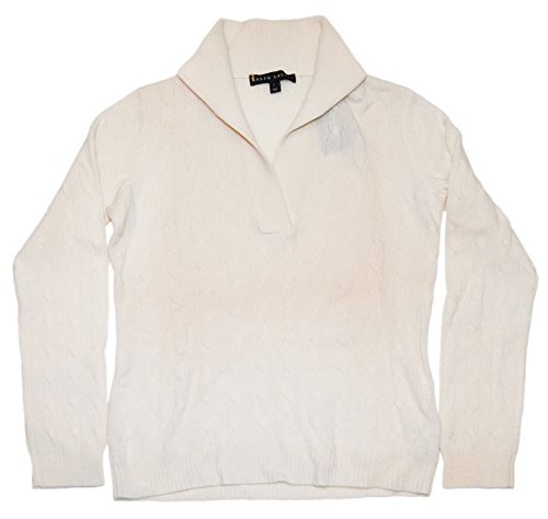 Polo Ralph Lauren Collection Black Label Womens Cashmere Half-Zip Cable Sweater White (Large) (Cable Half Zip Sweater)