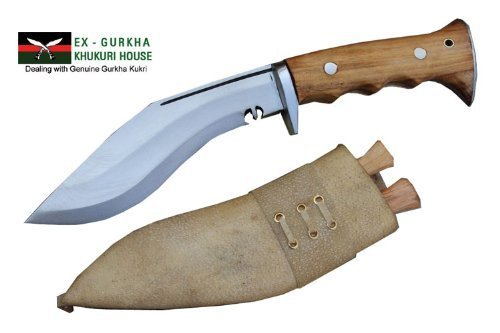 Authentic Gurkha Kukri Knife – 8 Blade Iraqi Angkhola Kukri with White Leather Sheath-Handmade by Gurkha Kukri House in Nepal- Warehoused Ship from USA