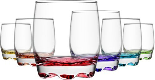 6 vasos con base de color
