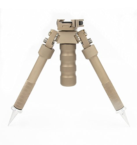 JINSE Bipod QD Quick Release Folding Swivel Adjustable 6.5-9 Inches Spikes (Brown)