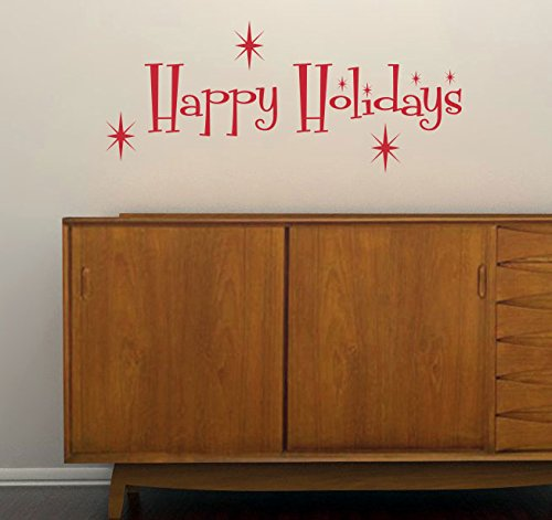 Retro Happy Holidays Removable Vinyl Decal - Perfect Holiday and Christmas stickers for Walls, Windows, Storefronts, and Offices - Red