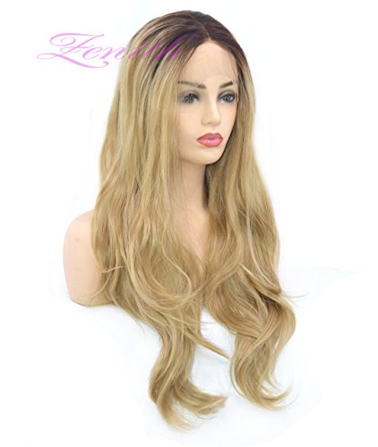 Zenith Dark Brown Rooted Light Blonde Lace Front Wigs for Women Best Synthetic Hair Wavy Wig with Flawless Hairline 24 inches Heat Safe by Zenith (Image #5)