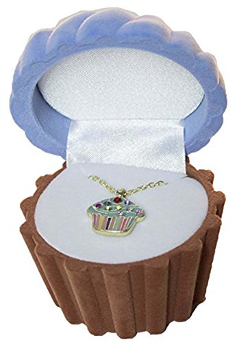 Cupcake Cuties Enamel Pendant Necklace in Figural Gift Box (Sold Individually) (Cupcake Charm Necklace)