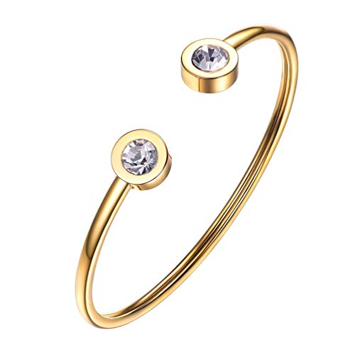 (PROSTEEL April Birthstone Diamond Cuff Bracelet 18K Gold Plated Stainless Steel Clear Crystal Bangle Bridesmaid Girls Women Jewelry Birthday Gift )