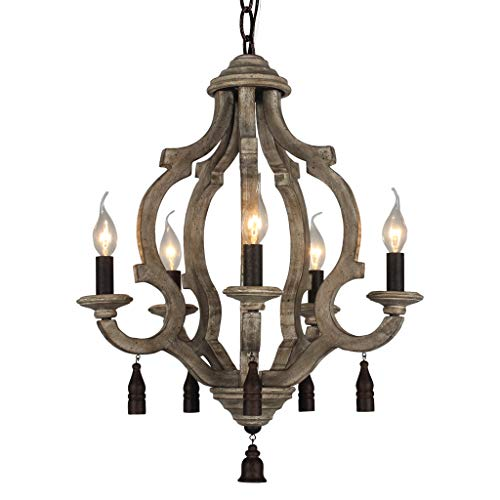 DOCHEER Vintage Rustic Metal Wood Chandelier 5-Candle Holder Lights Retro Wooden Ceiling Pendant Chandeliers Lamp for Foyer, Kitchen Table, Living Room, Bedroom