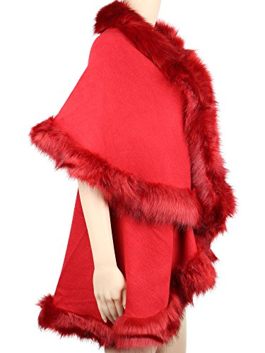 Womens Faux Fur Cape Coats Dress Plus Size (Wine Red) by Winfunup (Image #3)