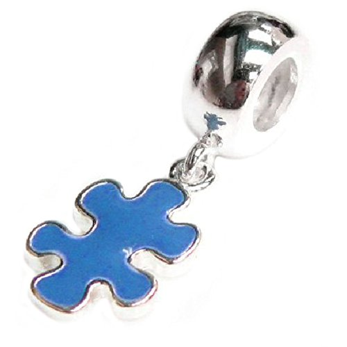 Sterling Silver Autism Puzzle Blue Enamel Awareness European Style Dangle Bead Charm (Charm Silver Puzzle Sterling)