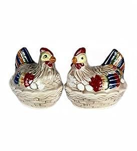 Hen in Basket Salt & Pepper Shaker Set S/p Andrea By Sadek