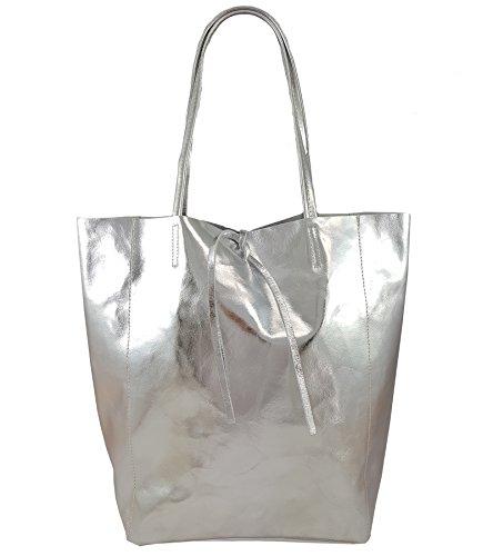 FreyFashion - Made in Italy - Bolso de tela de Piel Lisa para mujer plata metalica