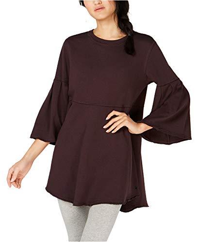 Calvin Klein Women's Performance Relaxed Bell-Sleeve Tunic (Raisin, Small) (Bell Lightweight Sweater)
