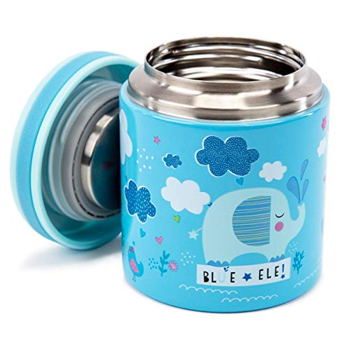 Blue Ele BE02 Vacuum Insulated Food Jar & Thermos for Kids, BPA-Free Lunch Containers, Double-Wall 304 Food Grade Stainless Steel 14 oz Keep Hot for 12hr & Cold for 24hr Blue with Pattern