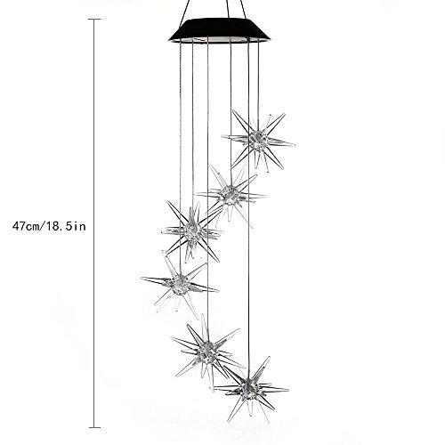 AceList Changing Color Meteor Solar Powered Mobile, Spiral Spinner Windchime Outdoor Windbell Light for Patio, Deck, Yard, Garden, Home, Pathway by AceList (Image #2)