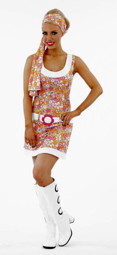 [60s 70s Flower Power Go Go Female Fancy Dress Costume - Small (US 6-8)] (Fancy Dress Flower Power)