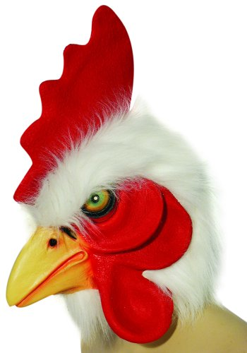 HMS Rooster Mask with Faux Fur Trim, White, One Size (Adult Rooster Costume)