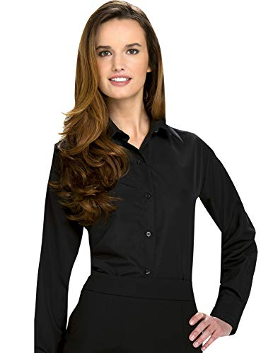 Luxe Microfiber Women's Fitted Button-Down Shirt Long Sleeve Point Collar - Style Valarie Black (Shirt Microfiber Womens)