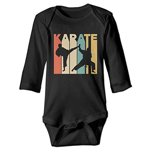 Karate Printed - Vintage Style Karate Printed Infant Baby Boy Girl Long Sleeve Bodysuit Romper Jumpsuit Black
