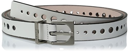Calvin Klein Women's 20mm Flat Strap Perforated Smooth Leather Belt