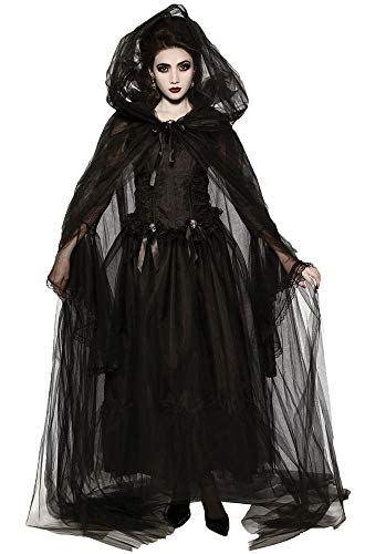 Newdeve Cloak Wizard Robe Black White Ghost Tulle