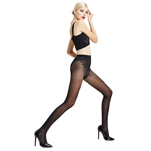 (ZubeJ 70D Women Compression Pantyhose, Ultra-thin Control-Top Sheer Tights Women, Pressure Medical Support Stockings for Women(Black, Large))