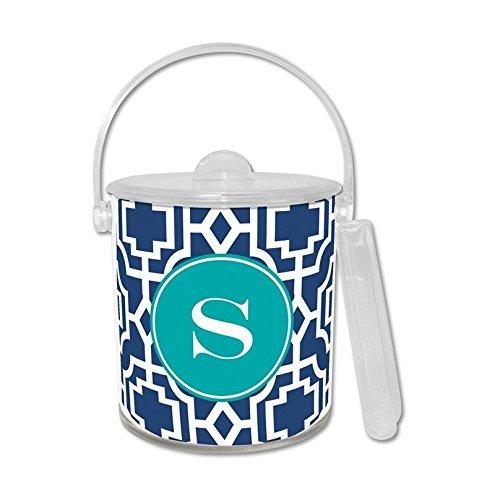 Whitney English Designer Lattice Ice Bucket with Single Initial, K, Multicolored (Monogram Ice Bucket)