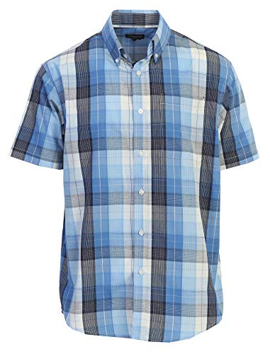 Xxl Shirts Band (Gioberti Men's Plaid Short Sleeve Shirt, Blue/Striped Band, XX Large)