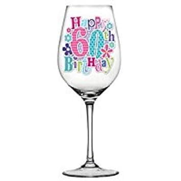 Recuerdo de celebración Cristal de vino para 60 cumpleaños ...