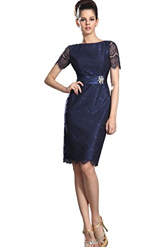 Angel Formal Dresses Bateall Knee Length Taffeta and Lace Mother Of The Bride Dress(18)